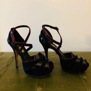 L.A.M.B. Black & Red Patent & Suede Platform Heels